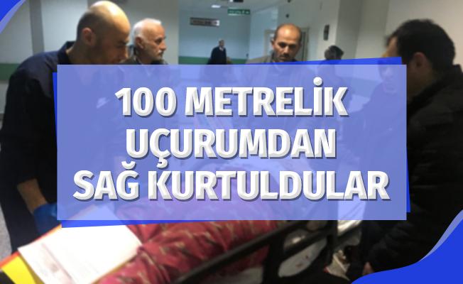 100 Metrelik Uçurumdan Sağ Kurtuldular