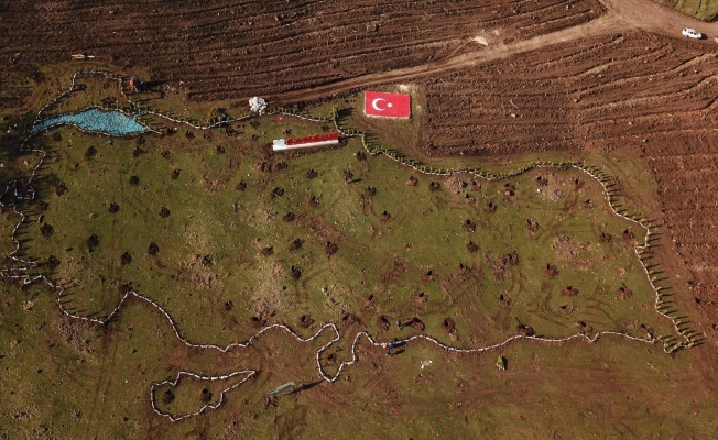 100. yılda 19 bin 19 fidan ile Türkiye haritası