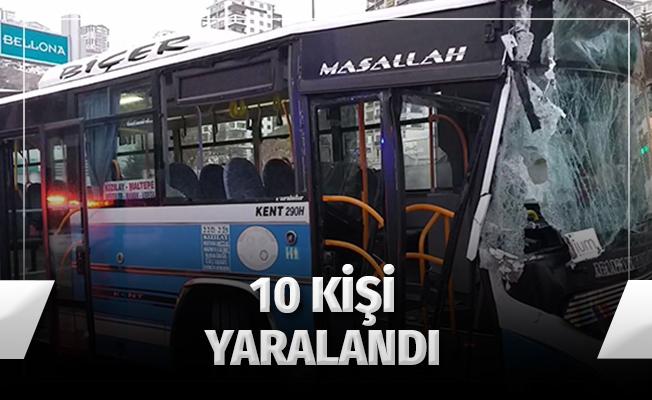 Halk Otobüsü Kaza Yaptı: 10 Yaralı