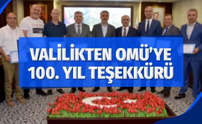 Samsun Valiliğinden OMÜ'ye 100. Yıl teşekkürü
