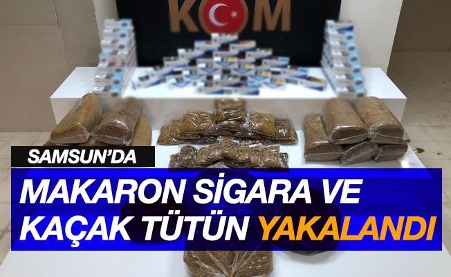 Samsun'da kaçak tütün ve makaron sigara ele geçirildi