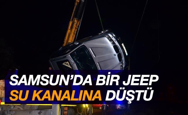 Samsun'da jeep su kanalına düştü