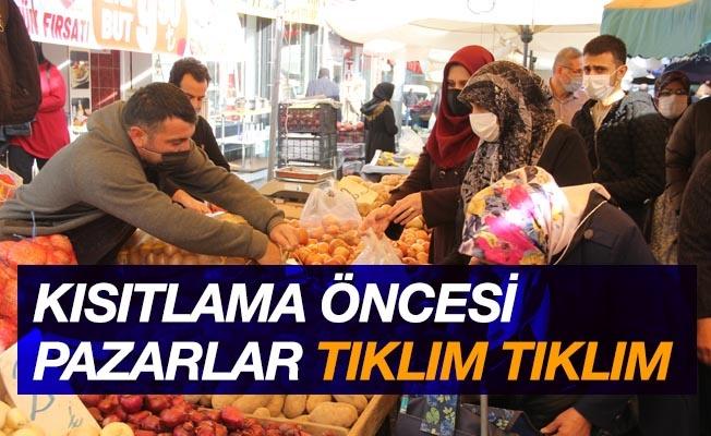Samsun'da vatandaşlar kısıtlama öncesi pazara akın etti
