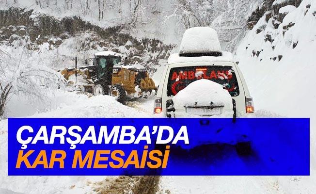 Çarşamba Belediyesi'nde kar mesaisi