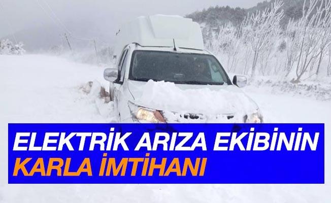 Elektrik arıza ekiplerinin karla imtihanı