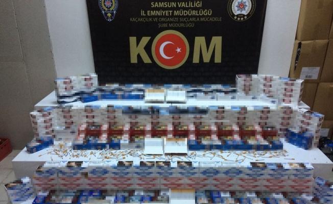Samsun'da 46 bin 600 dal kaçak makaron ele geçirildi: 4 gözaltı
