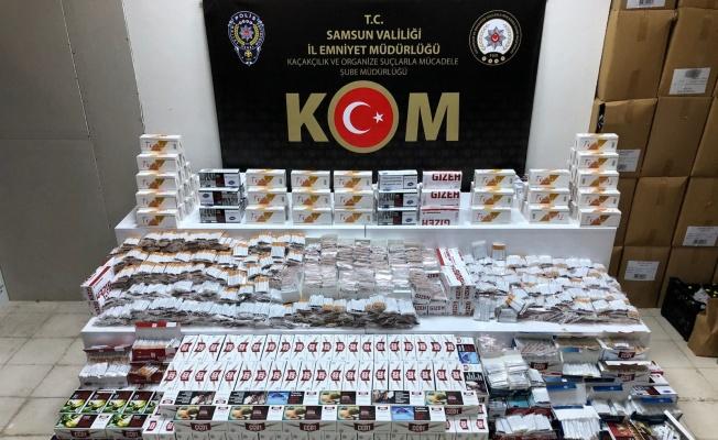 Samsun'da kaçak makaron ve tütün operasyonu