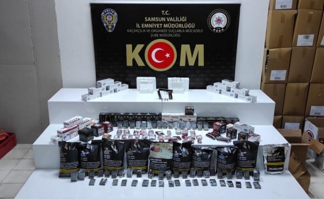 Samsun'da kaçak tütün ve makaron ele geçirildi