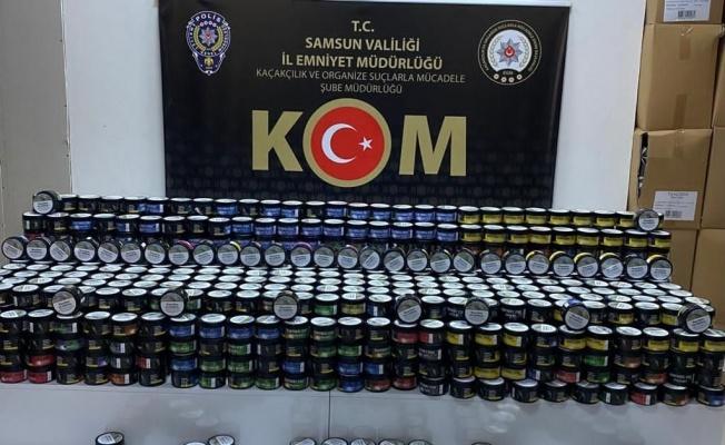 Samsun'da bin 181 kutu kaçak nargile tütünü ele geçirildi