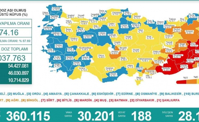 Karadeniz'de 8 il 'mavi', 8 il 'sarı', 2 il de 'turuncu'