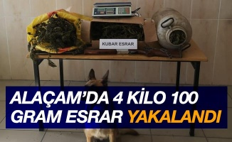 Alaçam'da 4 kilo 100 gram esrar ele geçirildi