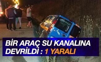 Samsun'da hafif ticari araç su kanalına devrildi: 1 yaralı
