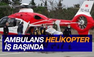 Samsun'da beyin kanaması geçiren hastanın yardımına ambulans helikopter yetişti