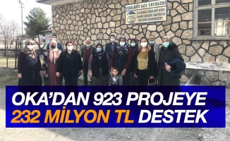 OKA'dan 923 projeye 232 milyon TL destek